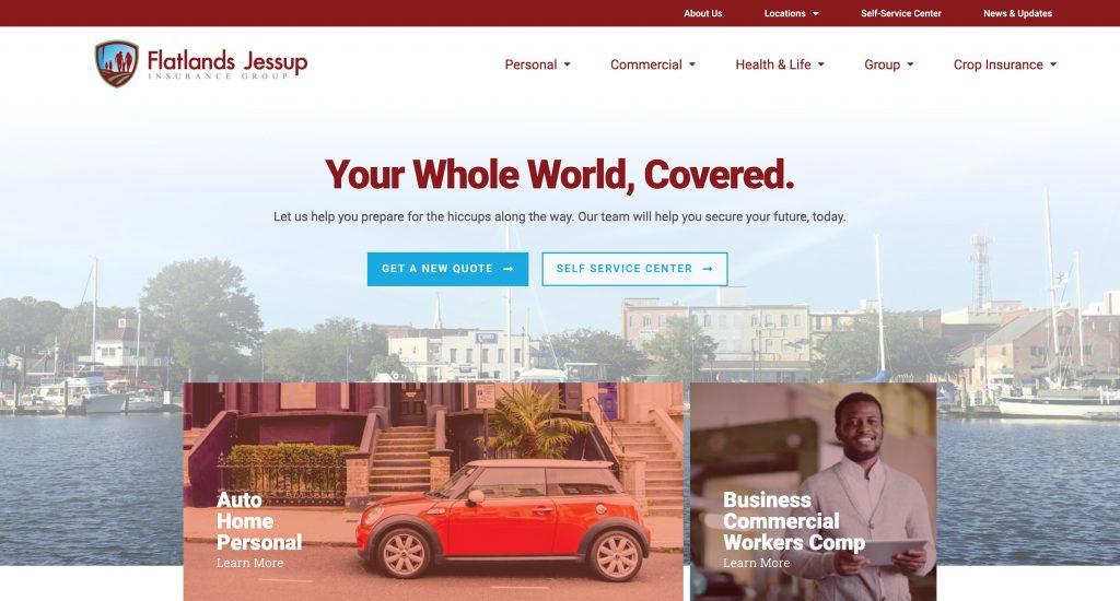 Flatlands Jessup Insurance Group Website Design by Tidemark Creative